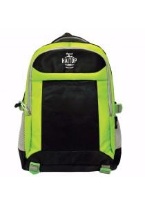 "Haitop HB1658 19"" Trendy Backpack (Black/Green)"