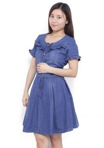 LadiesRoom Short Sleeve Flare Denim Dress (Light Blue)