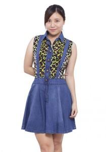 LadiesRoom Shirt Collar with Printed Flare Denim Dress (Blue)