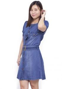LadiesRoom Belted Short Sleeve Button Down Dress (Light Blue)