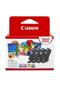 Canon CLI-726 Value Pack (Black, Cyan, Magenta, Yellow) Original Ink Cartridges