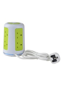 Safemore 2 Layer 6 Universal Socket Comes with 2 USB & Overload Protector DDV-2U006 (Green )