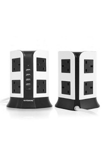 Safemore 2 Layer Smart Vertical Multi Plug Comes with USB Tower Socket DDV-4U008 (Black)