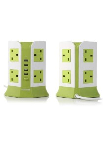 Safemore 2 Layer Smart Vertical Multi Plug Comes with USB Tower Socket DDV-4U008 (Green)