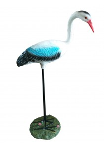 Polyresin Stork Bird - M - Blue/White - Home Decoration