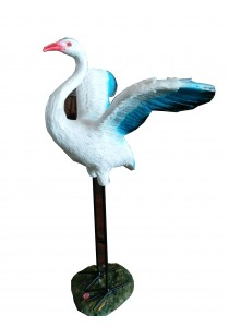 Polyresin Stork Bird (Open Wings) - M - Blue/White Home Decoration