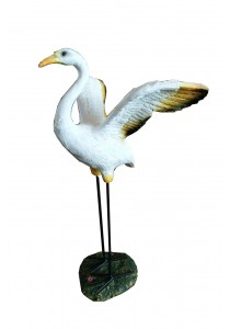 Polyresin Stork Bird (Open Wings) - M - Yellow/White Home Decoration