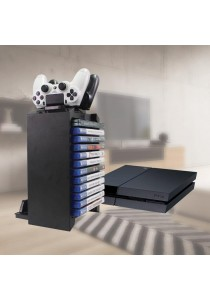 PS4 Multipurpose Rack 12 Slots with Dualshock 4 Charging Dock (Black)