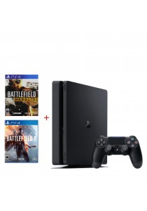 PS4 Slim 500GB Jet Black Bundle (Battlefield 1 + Battlefield Hardline Standard)