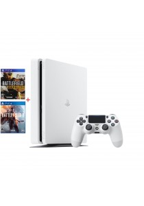 PS4 Slim 500GB Glacier White Bundle (Battlefield 1 + Battlefield Hardline Standard)