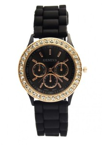 LadiesRoom Black Silicon Watch (Black)