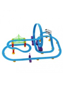 Track Racer Racing Train Rail Electric Track Battery Powered DIY Toy Set for Kids