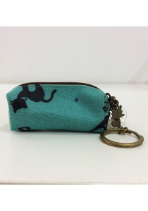 Queen and Cat Waterproof KeyChain Holder Purse (Black Cats)