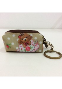 Queen and Cat Waterproof KeyChain Holder Purse (Teddy Bear in Cup)