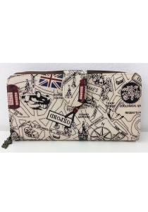 Queen And Cat Waterproof Long Wallet with Buckle (London Street)