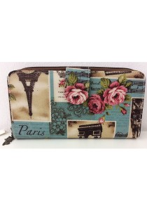 Queen And Cat Waterproof Long Wallet with Buckle (Paris Tower)