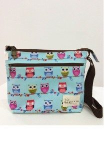 Queen and Cat Waterproof Small Sling Bag (Owls in Light Blue Background)