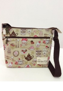 Queen and Cat Waterproof Small Sling Bag (Tea Party)