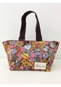 Queen And Cat Waterproof Woven Bento Bag (Colourful Cats)