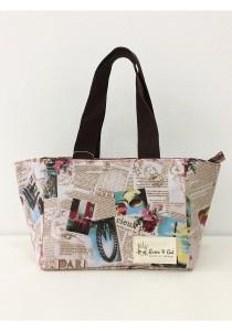 Queen And Cat Waterproof Woven Bento Bag (Newspaper)