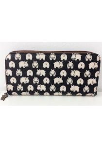 Queen And Cat Waterproof Long Wallet (Hippo in Black)