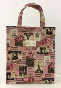 Queen And Cat Waterproof Large Tuition Bag (Paris Tower in Pink Background)