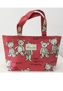 Queen And Cat Waterproof Small Hand Bag (Teddy Bear in Red Background)
