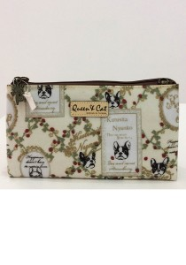 Queen and Cat Waterproof Medium 3 Layer Pouch (Flower in Nude Background)
