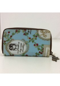 Queen And Cat Waterproof Zipper Keyholder (Grass and Dog in Light Blue Background)