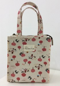 Queen And Cat Waterproof Small Tuition Bag (Pink Tree in Nude Background)