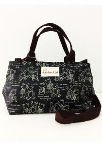Queen And Cat Waterproof Double Zipper Sling Bag (Teddy Bear in Dark Blue Background)