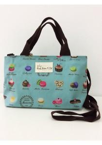 Queen And Cat Waterproof Double Zipper Sling Bag (Cake in Blue Background)