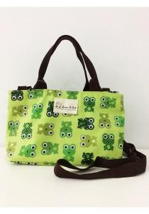 Queen And Cat Waterproof Double Zipper Sling Bag (Frogs in Green Background)