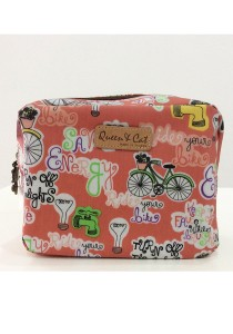 Queen and Cat Waterproof Large Cube Cosmetic Pouch (Alphabet and Bicycle)