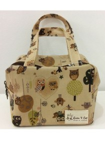 Queen And Cat Waterproof Cube Bento Bag (Owl in Brown Background)