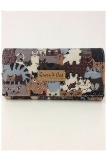 Queen And Cat Waterproof 2 Folds Wallet with Buckle (Colourful Cats)