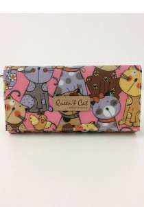 Queen And Cat Waterproof 2 Folds Wallet with Buckle (Ribbon Cats in Pink Background)