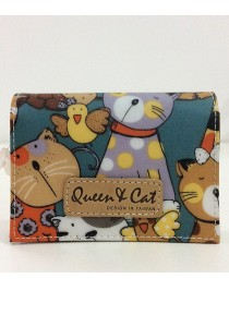 Queen And Cat Waterproof Name Card Holder (Colourful Cats in Dark Green Background)