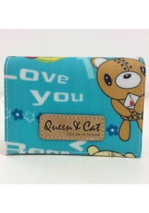 Queen And Cat Waterproof Name Card Holder (Lovely Bear in Light Blue Background)