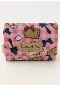 Queen And Cat Waterproof 3 Folds Small Wallet (Pink Teapot)