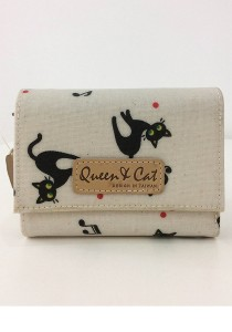 Queen And Cat Waterproof 3 Folds Small Wallet (Black Cat in Nude Background)