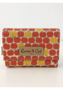 Queen And Cat Waterproof 3 Folds Small Wallet (Orange Yellow Apples)
