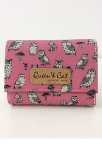 Queen And Cat Waterproof 3 Folds Small Wallet (Owl in Pink Background)