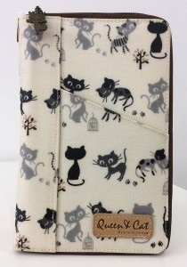 Queen And Cat Waterproof Notepad Organizer Wallet (Grey and Black Cats)