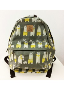 Queen And Cat Waterproof Classics Backpack (Polar Bear in Grey Background)