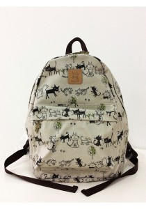 Queen And Cat Waterproof Classics Backpack (Cat in White Background)