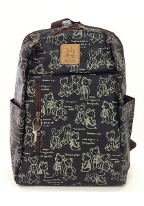 Queen and Cat Waterproof Lovely Backpack (Teddy Bears in Black Background)