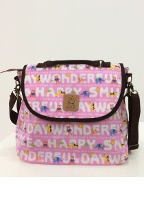 Queen and Cat Waterproof 3 Ways Bag (Alphabet and Animal in Pink Background)