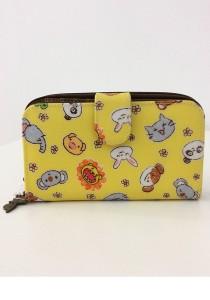 Queen And Cat Waterproof Medium Wallet with Bucket (Flower Animals in Yellow Background)