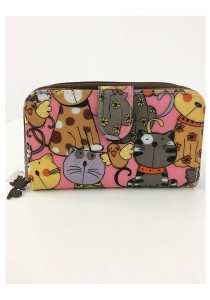 Queen And Cat Waterproof Medium Wallet with Bucket (Colourful Cats)